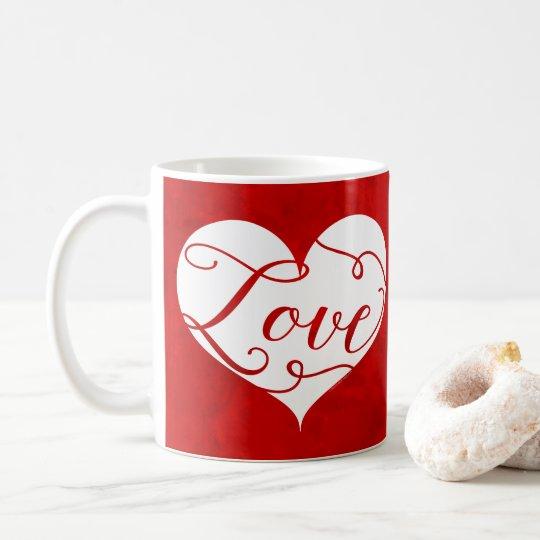 Love Watercolor Red Heart Swirl Valentine's Day Coffee Mug