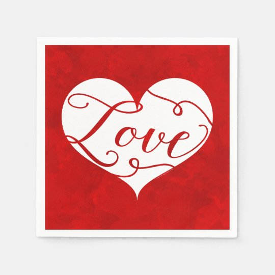 Love Watercolor Red Heart Swirl Valentine's Day Disposable Napkins