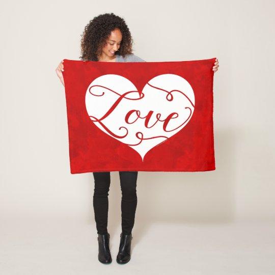 Love Watercolor Red Heart Swirl Valentine's Day Fleece Blanket