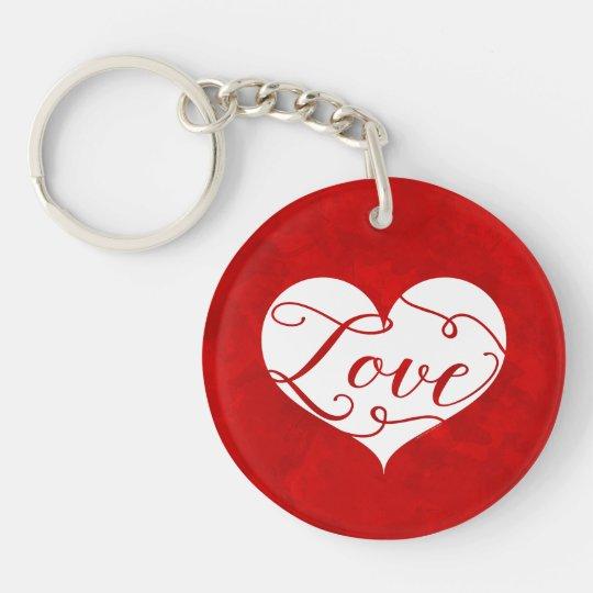 Love Watercolor Red Heart Swirl Valentine's Day Keychain