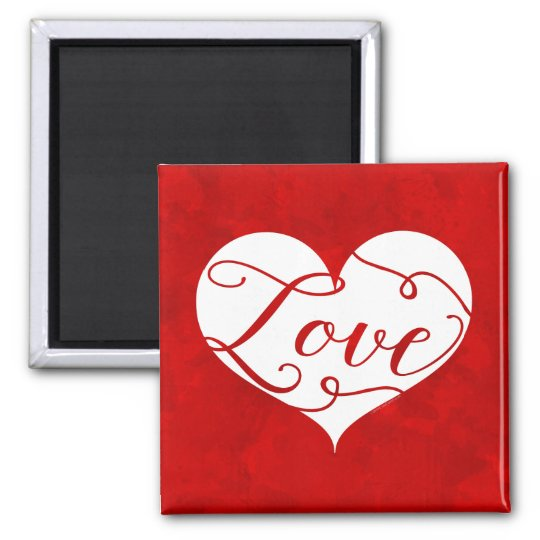 Love Watercolor Red Heart Swirl Valentine's Day Magnet