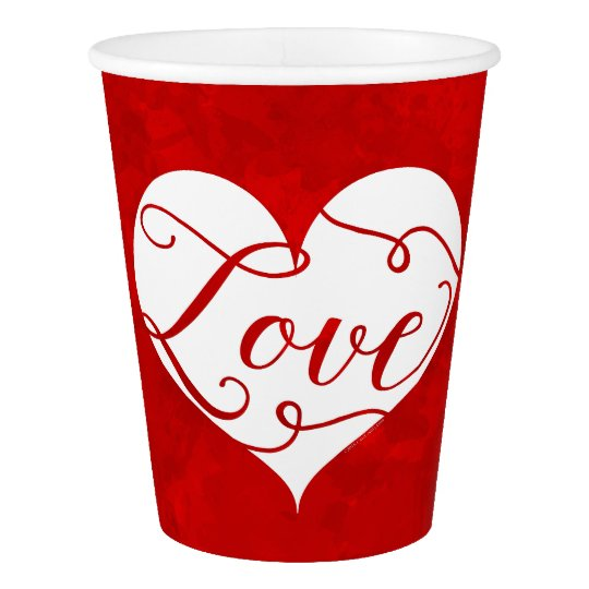 Love Watercolor Red Heart Swirl Valentine's Day Paper Cup