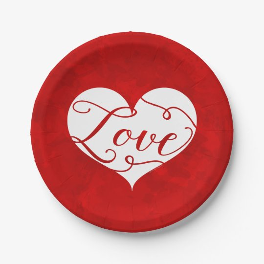 Love Watercolor Red Heart Swirl Valentine's Day Paper Plate