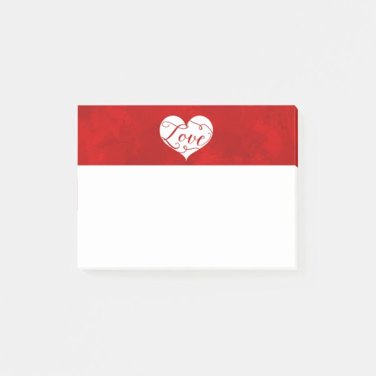 Love Watercolor Red Heart Swirl Valentine's Day Post-it Notes