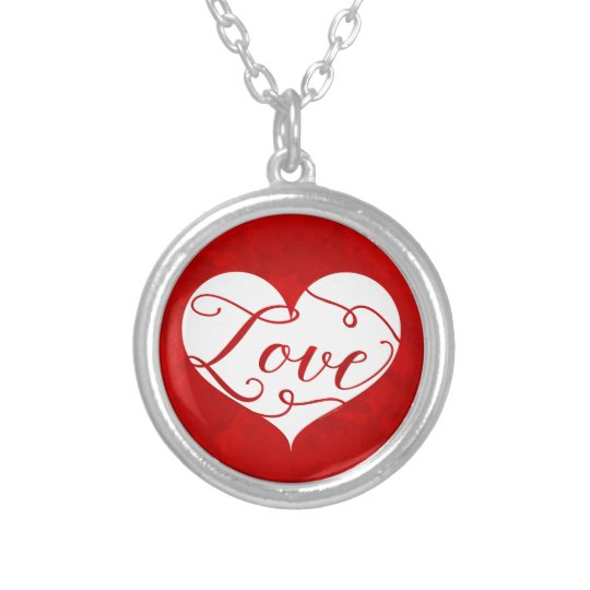 Love Watercolor Red Heart Swirl Valentine's Day Silver Plated Necklace