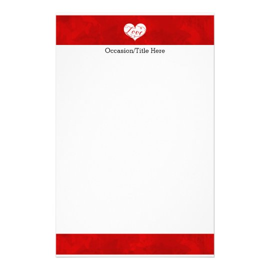 Love Watercolor Red Heart Swirl Valentine's Day Stationery