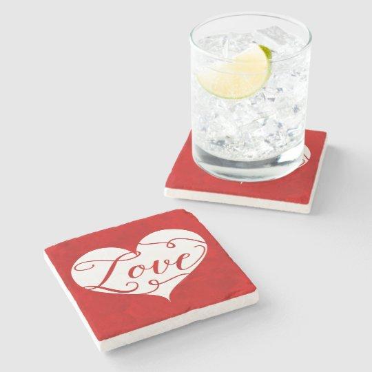 Love Watercolor Red Heart Swirl Valentine's Day Stone Coaster