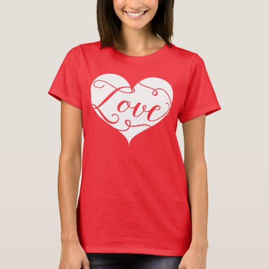 Love Watercolor Red Heart Swirl Valentine's Day T-Shirt