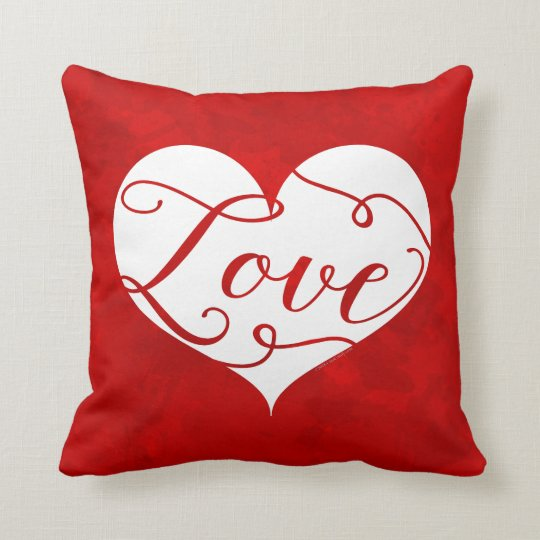 Love Watercolor Red Heart Swirl Valentine's Day Throw Pillow