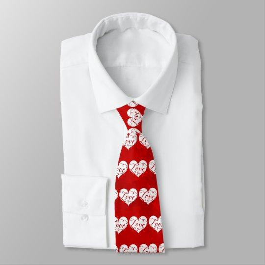 Love Watercolor Red Heart Swirl Valentine's Day Tie