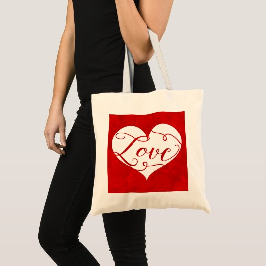 Love Watercolor Red Heart Swirl Valentine's Day Tote Bag