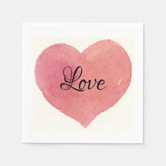 Love Watercolor Rosepink Heart. Paper Napkin