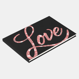 Love Wedding | Black and Pink Glitter Star Sparkle Guest Book