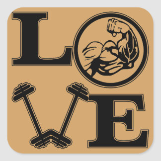 LOVE Weight Lifting Strength Training Square Sticker