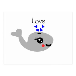 Love whale, Happy Whale Postcard