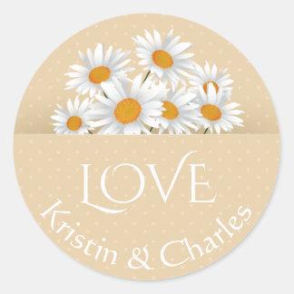 Love White Daisies Tan Polka Dot Personalized Classic Round Sticker