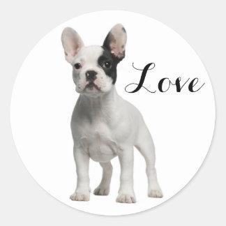 Love White French Bulldog Puppy Dog Black Eye Classic Round Sticker
