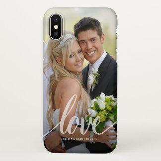 Love White Handwritten Wedding Photo Overlay iPhone X Case