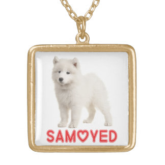 Love White Samoyed Puppy Dog Pendant Necklace