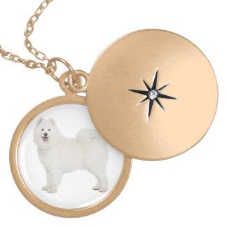 Love White Samoyed Puppy Dog Pendant Necklace