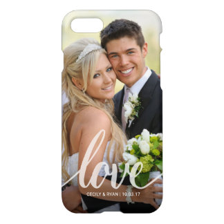Love White Script Wedding Couples Photo Overlay iPhone 8/7 Case