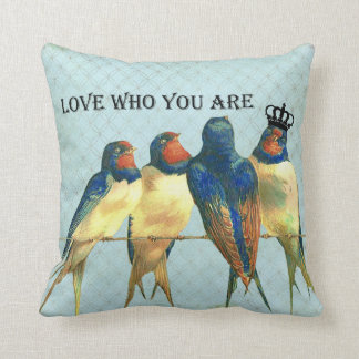 Love Who You Are crowned bird pillow