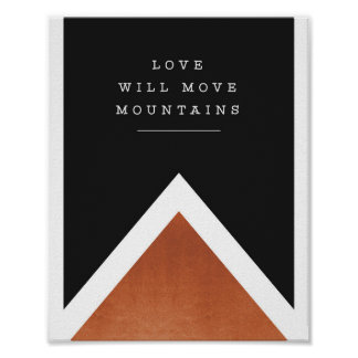 """love will move mountains"" copper print"