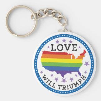 Love will Triumph Basic Round Button Keychain