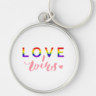 Love Wins - Hand Lettering Typography Design Silver-Colored Round Keychain