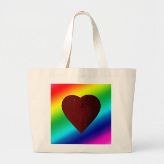 LOVE WINS! (rainbow heart) ~ Large Tote Bag