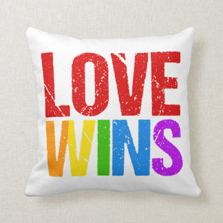 Love Wins Rainbow Throw Pillow