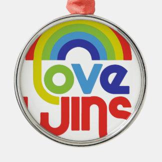 Love Wins Silver-Colored Round Ornament