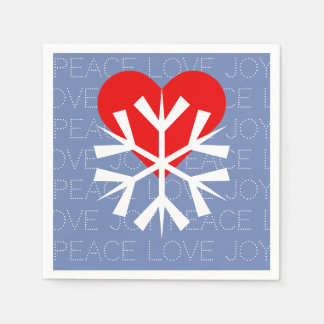 LOVE WINTER Heart Snowflake Paper Napkin