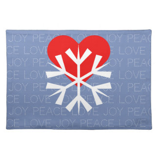LOVE WINTER Heart Snowflake Placemat