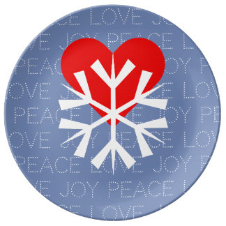 LOVE WINTER Heart Snowflake Plate