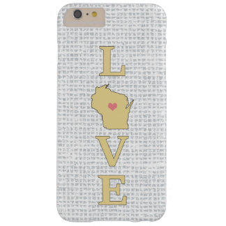 LOVE Wisconsin State Map moveable heart Barely There iPhone 6 Plus Case