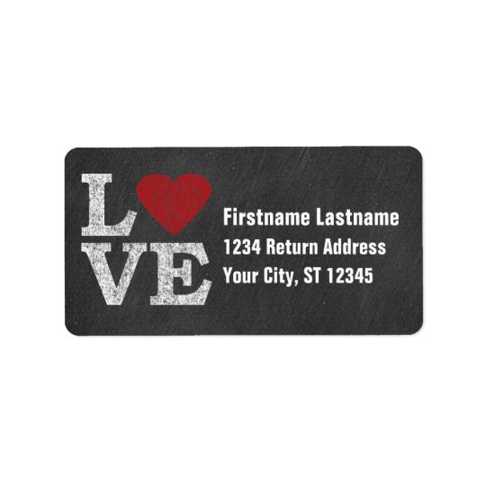 Love with a Bright Red Heart - Chalkboard Label