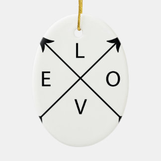 Love with Arrows Ceramic Oval Ornament