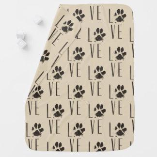Love with  Brown Grunge Pet Paw Print Pattern Baby Blanket
