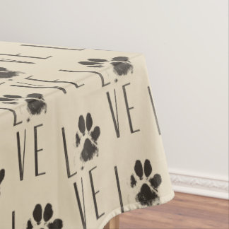 Love with  Brown Grunge Pet Paw Print Pattern Tablecloth