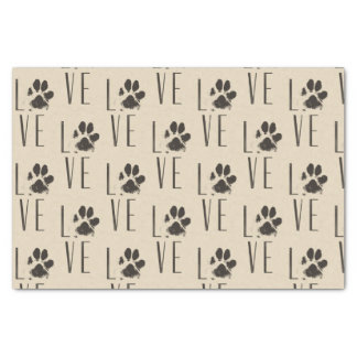 Love with  Brown Grunge Pet Paw Print Pattern Tissue Paper