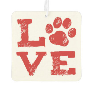 LOVE with Dog Paw Print Car Air Freshener