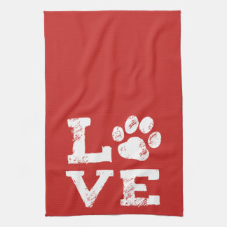 LOVE with Dog Paw Print Kitchen Towel