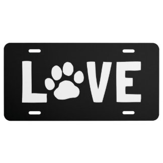 LOVE with Dog Paw Print License Plate
