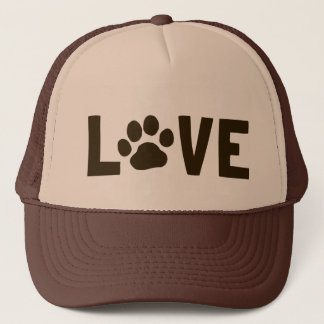 LOVE with Dog Paw Print Trucker Hat