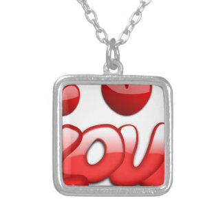 Love with hearts silver plated necklace