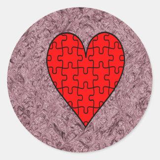 Love With Motif Batik Round Sticker