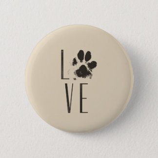 Love with Pet Paw Print Brown Grunge Typography 2 Inch Round Button