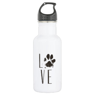 Love with Pet Paw Print Brown Grunge Typography 532 Ml Water Bottle