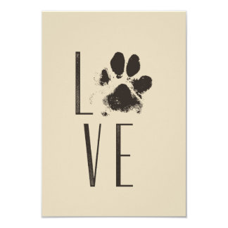 Love with Pet Paw Print Brown Grunge Typography Card